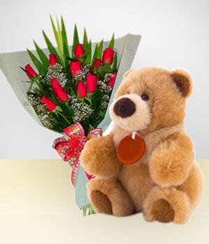 Combo capricho bouquet de 12 rosas peluche cumplea os - Peluches con fotos ...
